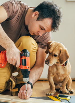 Man drilling with dog